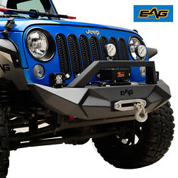 EAG Front Bumper W Winch Plate Fit for 07-18 Jeep Wrangler JK
