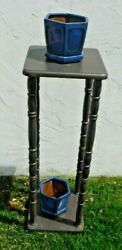 Vintage~Tall Wooden Plant Stand~Side Table~Tiny Home~Patio~Spindle~Tiered~Shelf