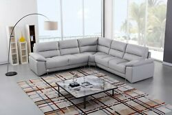3PC Modern Light Gray Italian Top-Grain Leather Sofa x 2 Corner Sectional Set