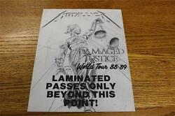 RARE Vintage OTTO Backstage Concert Door Sign Metallica LAMINATED PASSES ONLY