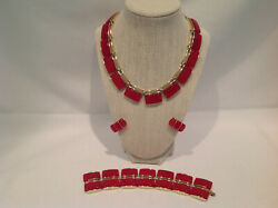 Lisner Thermoset Necklace Bracelet Earrings Coral Red Orange Lucite Gold Tone