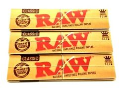 3x Raw Classic King Size Slim Natural Unrefined Rolling Papers $1.33 Pack USA $4.21