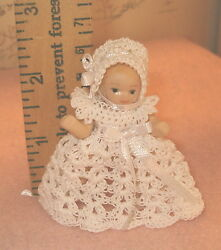 Crochet Dress Gown and Bonnet for 2 12 inch Doll Handmade All White $8.00