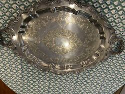 ORNATE Vintage LAWRENCE B. SMITH CO. SILVER PLATED Oval Footed Butler's Tray 29