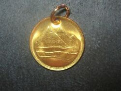 18MM Egyptian Egypt Rose Gold Vintage Copper Pyramid Coin Pendant Charm Tut