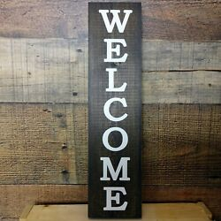 WELCOME Rustic Wood Handmade Sign Farmhouse Country Decor 3.5quot;x14quot; Vertical $9.99