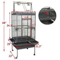 Bird Cage 68quot; Large Play Top Parrot Finch Cage Macaw Cockatoo Pet Supply $123.99