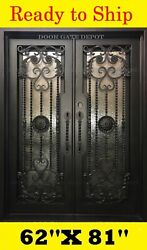 STRAIGHT TOP WROUGHT IRON FRONT ENTRY DOORS TEMPERED GLASS 62''X81'' DGD1055
