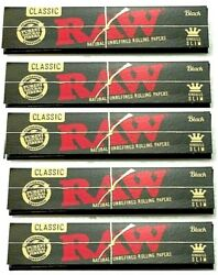 5x Raw Black King Size Slim Rolling Papers Gold Lettering AUTHENTIC USA Shipped $7.42