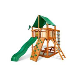 Chateau Tower Swing Set w Amber Posts and Deluxe Green Vinyl Canopy