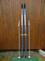 GREAT Ready to Use Cross Country 81quot; JUUSISTO 210 cm Skis WAXLESS Base Poles $79.95