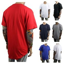 Men T Shirt BIG AND TALL Long Extended Casual Tee Basic Crew Neck Hipster S 5XL
