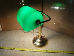 Brass library study lamp. Classic green desk table light. Nice $49.99