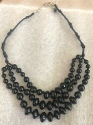 COSTUME JEWELRY Necklace 3 strands of BLACK Beads