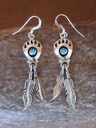 Navajo Sterling Silver Turquoise Bear Paw Feather Dangle Earrings! Spencer