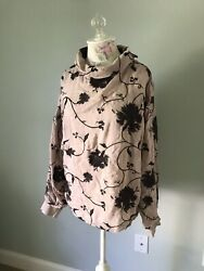 Free People Womens Boho Embroidered Shirt Size L Pink Burgundy Floral