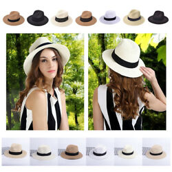 Crushable Women Wide Brim Straw Panama Roll up Fedora Beach Sun Hat Foldable Cap $9.99