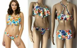 Rampage Swimsuit Exotic Paradise Women's Floral Ruffled 2-Piece Bikini Set UPF40