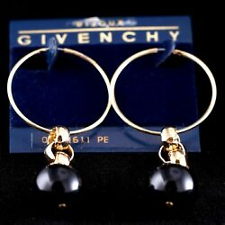 Elegant Gold Toned Vintage Givenchy Hoop with black Bead Earrings - Pierced