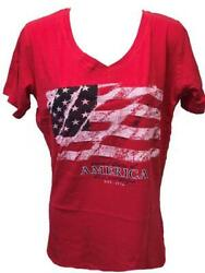 NEW Patriotic America USA 4th of July 1776 Womens Size L Large Red V Neck Shirt $7.30