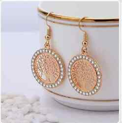 rose Gold Crystal Drop Earrings Women Hollow Out Tree of Life Pattern Round