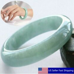 53-64mm Chinese Beautiful Light Green Jade Bangle Hand Carved Jade Bracelet