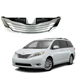 For 2011 2017 Toyota Sienna Chrome Front Bumper Grille Grill Factory Replacement