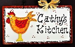 ROOSTER SIGN Personalize Name KITCHEN DECOR WALL HANGER PLAQUE Chicken Country $13.95