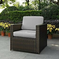 Crosley  Palm Harbor Outdoor Wicker Arm Chair In Brown With Grey Cushions