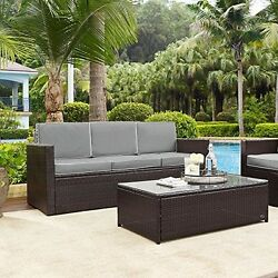 Crosley KO70048BR-GY Palm Harbor Outdoor Wicker Sofa In Brown With Grey Cushions