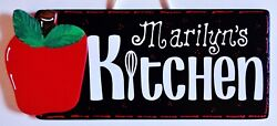 Personalize APPLE KITCHEN Name SIGN Wall Hanging Hanger Plaque Country Decor $14.45