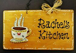 COFFEE CUP Personalize KITCHEN Name SIGN Wall Art Hanger Plaque Country Decor $13.95