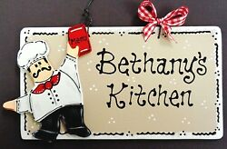FAT CHEF Personalize KITCHEN Name SIGN Wall Hanger Plaque Cucina Bistro Decor $13.95
