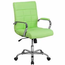 Green Desk Chair Executive Office Furniture Neon Seat Swiveling Chrome Quilted $249.97