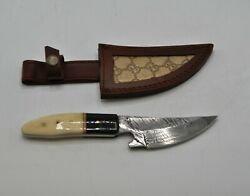 Custom Made Fixed Blade Hunting Knife With Leather Gucci Sheath 4 inch Blade