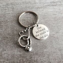 She believed she could so she did Gift Nurse Nursing Graduation Silver Keych