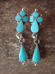 Zuni Indian Sterling Silver Inlay Turquoise Dangle Earrings by Othole