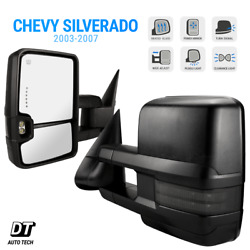 Black Tow Mirrors For 03-07 Silverado Extendable Power+Heated+LED Signals+Puddle