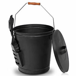 Black Metal Fireplace Ash Bucket With Shovel Lid Cover Fire Pits Stove Sturdy $28.88