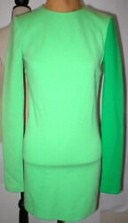 New Womens 4 NWT Italy Fausto Puglisi 40 Dress Wool Green Designer Long Sleeves