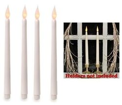 Lot of 4 LED Taper Candle White Silicone Tip 400 hr Battery Flickering Bulb 11quot; $12.85