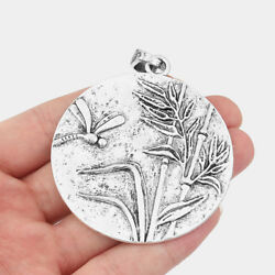 2PCS Large Silver Carved Dragonfly Bamboo Round Pendant for Necklace Jewelry $3.99