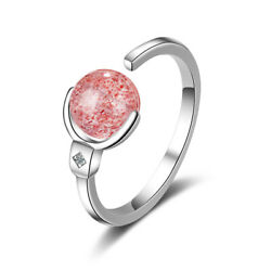 Simple Fashion 925 Sterling Silver Pink Crystal Bead Ball Solitaire Band Ring