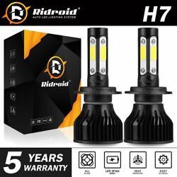 Pair 4-sides H7 CREE LED Headlight bulb 2400W 6000K 360000LM Replacement Bulb JO $12.26