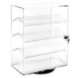 Lockable Showcase Rotating Acrylic Display Stand with 4 Removable Shelves