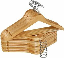 Wooden Hangers Pack of 20 Suit Hangers Premium Natural Finish Wholesale Lot