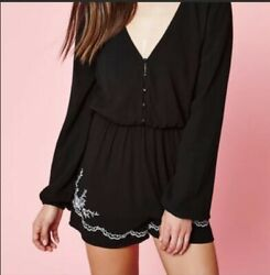 Kendall And Kylie Black Embroided Long Sleeve Romer S