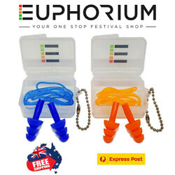 Euphorium Corded Ear Plugs Musicians Hearing Protection Sleep Rave Festival *AUS AU $14.95