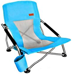 Folding Beach Chair With Cup Holder Portable Camping Ultralight Compact - Blue $38.99