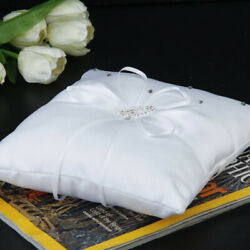 10*10cm Pocket Ring Bearer Pillow Cushion with Satin Ribbons for Bridal Wedding